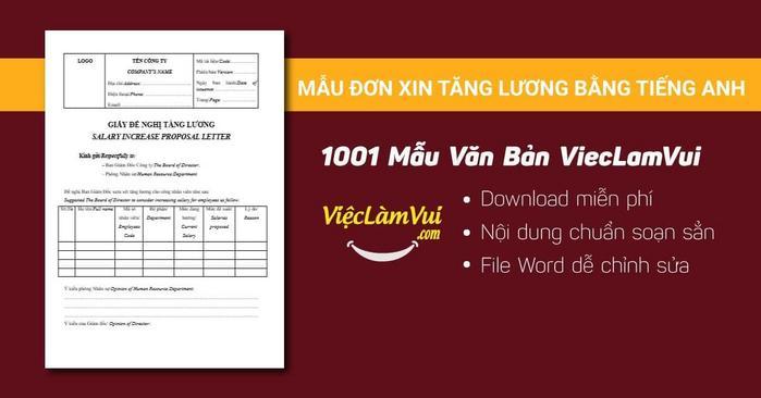 mẫu đơn xin tăng lương bằng tiếng Anh - 1001 mẫu văn bản ViecLamVui