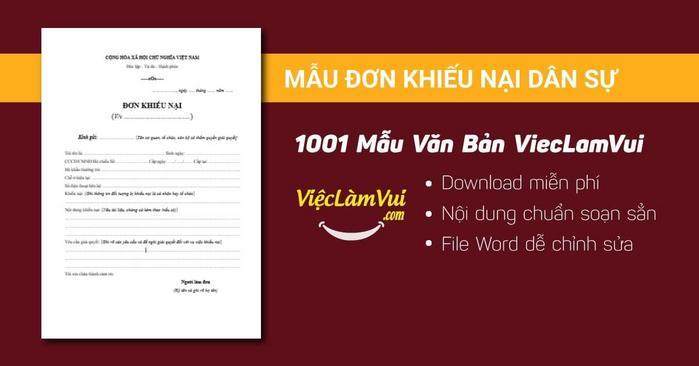 Mẫu đơn khiếu nại dân sự - 1001 mẫu văn bản ViecLamVui