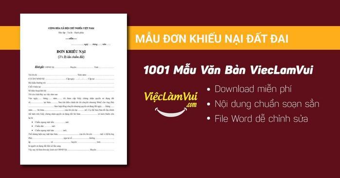 Mẫu đơn khiếu nại đất đai - 1001 mẫu văn bản ViecLamVui
