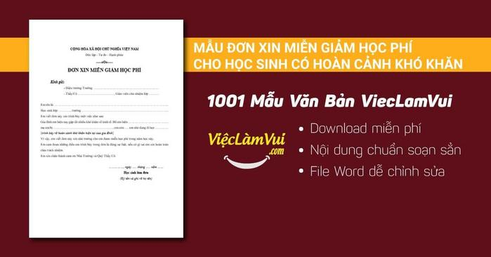 Mẫu đơn xin miễn giảm học phí cho học sinh có hoàn cảnh khó khăn - 1001 mẫu văn bản ViecLamVui