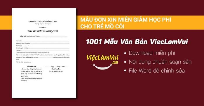Mẫu đơn xin miễn giảm học phí cho trẻ mồ côi - 1001 mẫu văn bản ViecLamVui