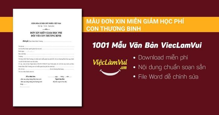 Mẫu đơn xin miễn giảm học phí con thương binh - 1001 mẫu văn bản ViecLamVui