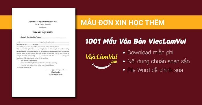 Mẫu đơn xin học thêm - 1001 mẫu văn bản ViecLamVui