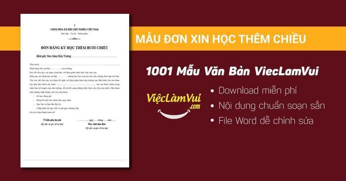 Mẫu đơn xin học thêm chiều - 1001 mẫu văn bản ViecLamVui