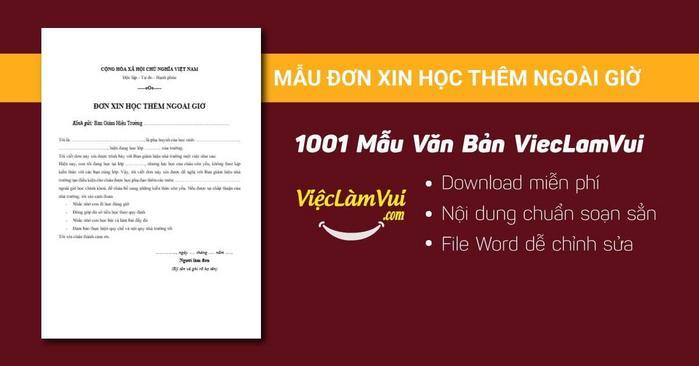 Mẫu đơn xin học thêm ngoài giờ - 1001 mẫu văn bản ViecLamVui