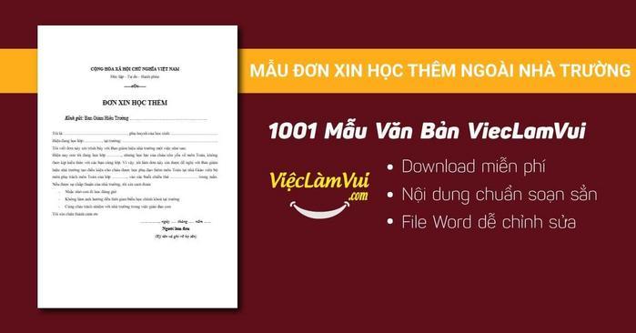 Mẫu đơn xin học thêm ngoài nhà trường - 1001 mẫu văn bản ViecLamVui