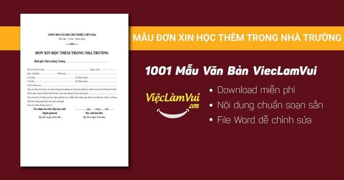Mẫu đơn xin học thêm trong nhà trường - 1001 mẫu văn bản ViecLamVui