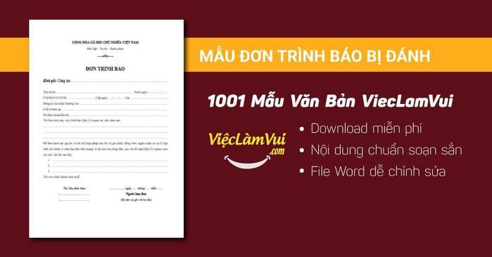 Mẫu đơn trình báo bị đánh - 1001 mẫu văn bản ViecLamVui