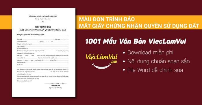 Mẫu đơn trình báo mất giấy chứng nhận quyền sử dụng đất - 1001 mẫu văn bản ViecLamVui