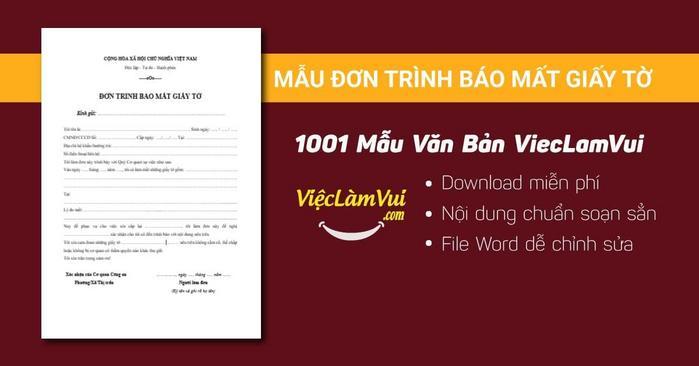 Mẫu đơn trình báo mất giấy tờ - 1001 mẫu văn bản ViecLamVui