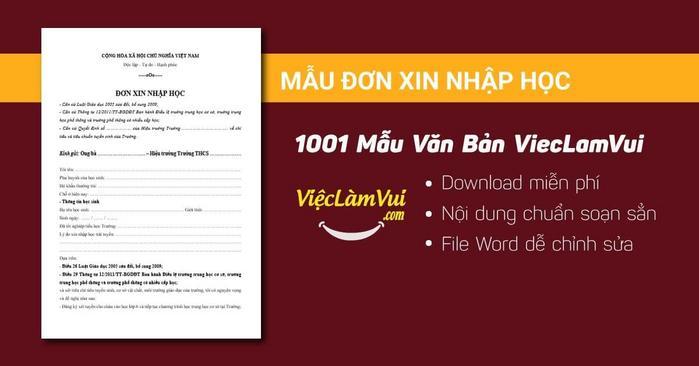 Mẫu đơn xin nhập học - 1001 mẫu văn bản ViecLamVui