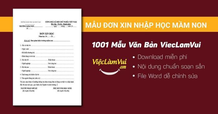 Mẫu đơn xin nhập học mầm non - 1001 mẫu văn bản ViecLamVui