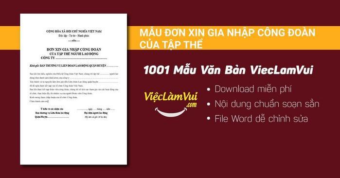 Mẫu đơn xin gia nhập công đoàn của tập thể - 1001 mẫu văn bản ViecLamVui