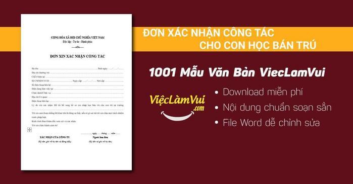 Mẫu đơn xác nhận công tác cho con học bán trú - 1001 mẫu văn bản ViecLamVui