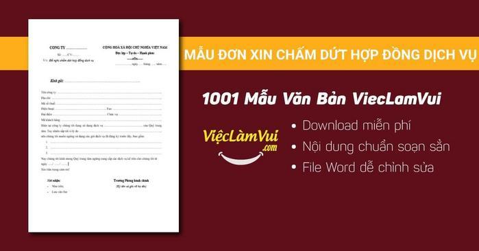 Mẫu đơn xin chấm dứt hợp đồng dịch vụ - 1001 mẫu văn bản ViecLamVui