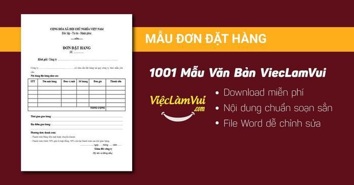 Mẫu đơn đặt hàng - 1001 mẫu văn bản ViecLamVui