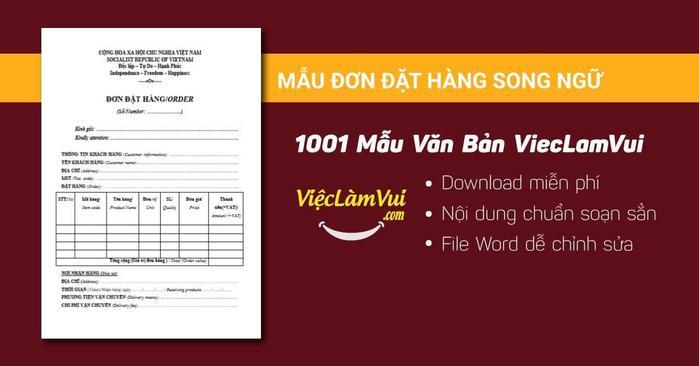 Mẫu đơn đặt hàng song ngữ - 1001 mẫu văn bản ViecLamVui