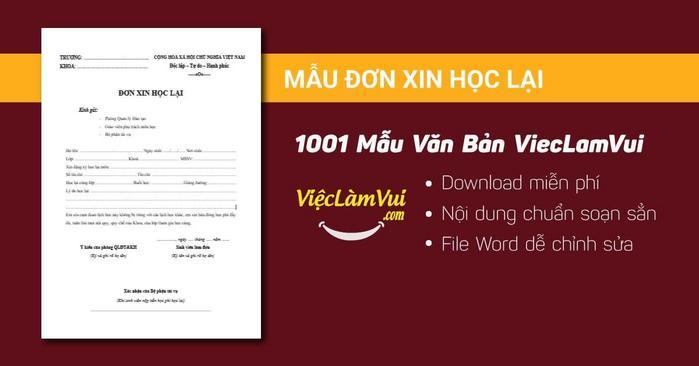Mẫu đơn xin học lại - 1001 mẫu văn bản ViecLamVui