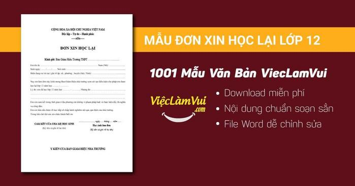 Mẫu đơn xin học lại lớp 12 - 1001 mẫu văn bản ViecLamVui
