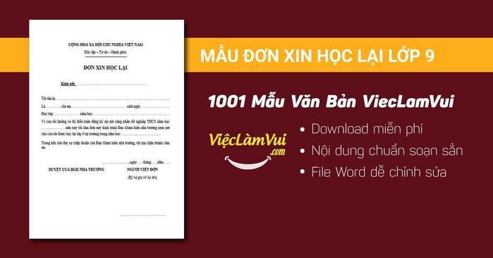 Mẫu đơn xin học lại lớp 9 - 1001 mẫu văn bản ViecLamVui