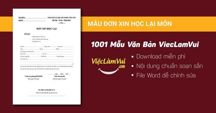 Mẫu đơn xin học lại môn - 1001 mẫu văn bản ViecLamVui