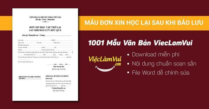 Mẫu đơn xin học lại sau khi bảo lưu - 1001 mẫu văn bản ViecLamVui