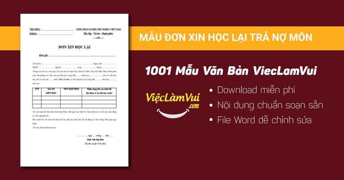Mẫu đơn xin học lại trả nợ môn - 1001 mẫu văn bản ViecLamVui