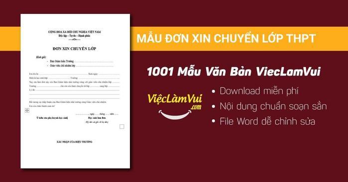 Mẫu đơn xin chuyển lớp THPT - 1001 mẫu văn bản ViecLamVui