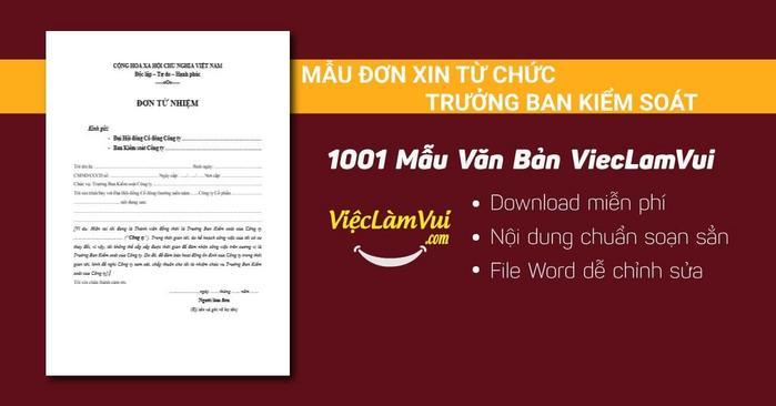 Mẫu đơn xin từ chức trưởng ban kiểm soát - 1001 mẫu văn bản ViecLamVui