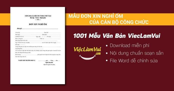 Mẫu đơn xin nghỉ ốm của cán bộ công chức - 1001 mẫu văn bản ViecLamVui