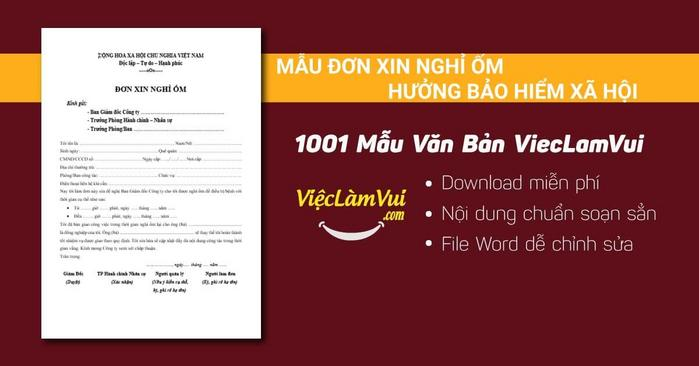 Mẫu đơn xin nghỉ ốm hưởng bảo hiểm xã hội - 1001 mẫu văn bản ViecLamVui