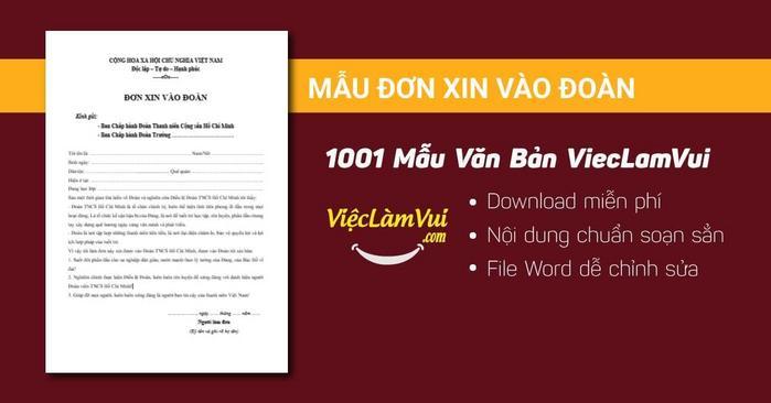 Mẫu đơn xin vào Đoàn - 1001 mẫu văn bản ViecLamVui