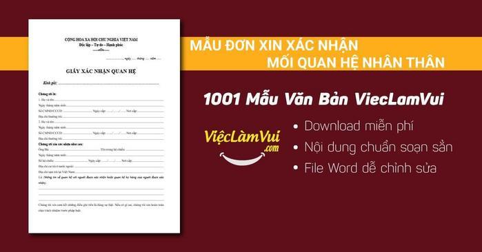 Mẫu đơn xin xác nhận mối quan hệ nhân thân - 1001 mẫu văn bản ViecLamVui