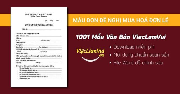Mẫu đơn đề nghị mua hoá đơn lẻ mới nhất - 1001 mẫu văn bản ViecLamVui