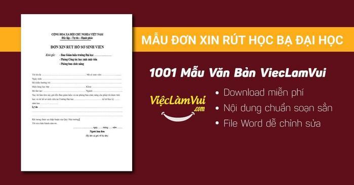 Mẫu đơn xin rút học bạ đại học - 1001 mẫu văn bản ViecLamVui