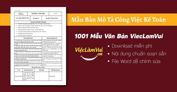 Mô tả công việc kế toán - 1001 Bản mô tả công việc ViecLamVui