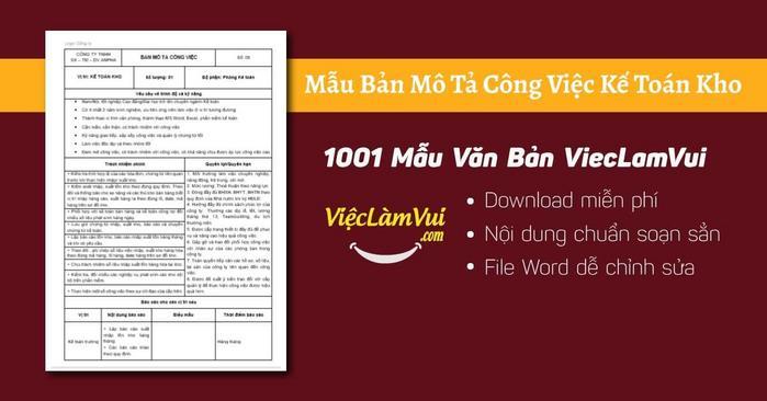 Mô tả công việc kế toán kho - 1001 Bản mô tả công việc ViecLamVui