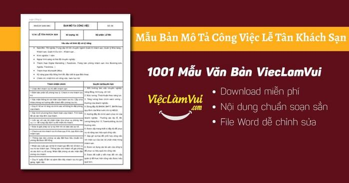 Mô tả công việc lễ tân khách sạn - 1001 Bản mô tả công việc ViecLamVui