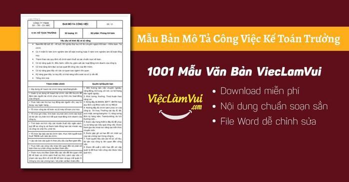 Mô tả công việc kế toán trưởng - 1001 Bản mô tả công việc ViecLamVui