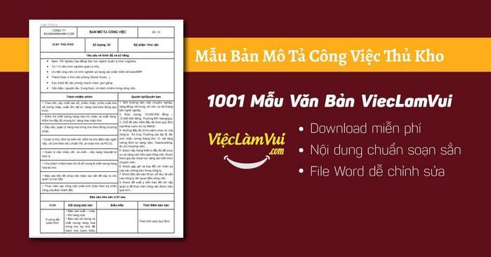 Mô tả công việc thủ kho - 1001 Bản mô tả công việc ViecLamVui