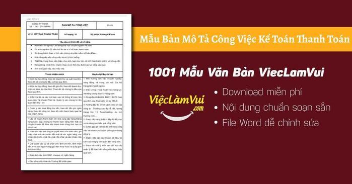 Mô tả công việc kế toán thanh toán - 1001 Bản mô tả công việc ViecLamVui