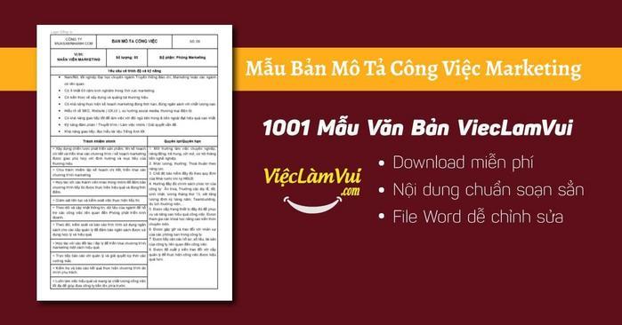 Mô tả công việc marketing - 1001 Bản mô tả công việc ViecLamVui