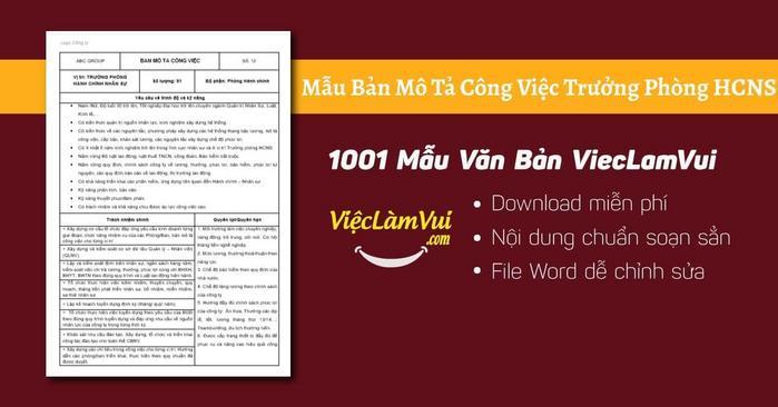 Mô tả công việc trưởng phòng hành chính nhân sự - 1001 Bản mô tả công việc ViecLamVui
