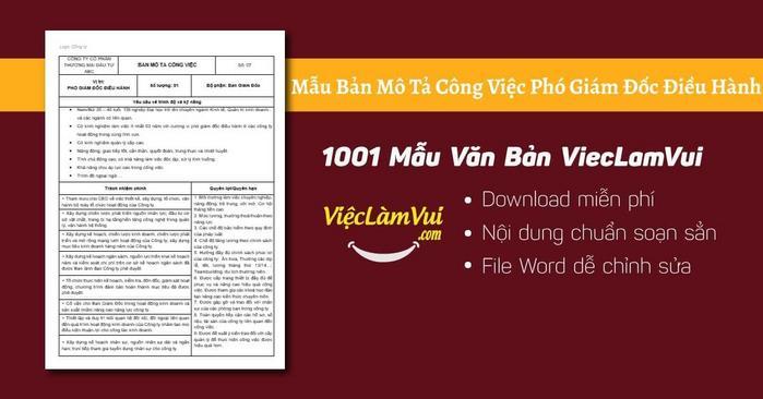 Mô tả công việc phó giám đốc điều hành - 1001 Bản mô tả công việc ViecLamVui