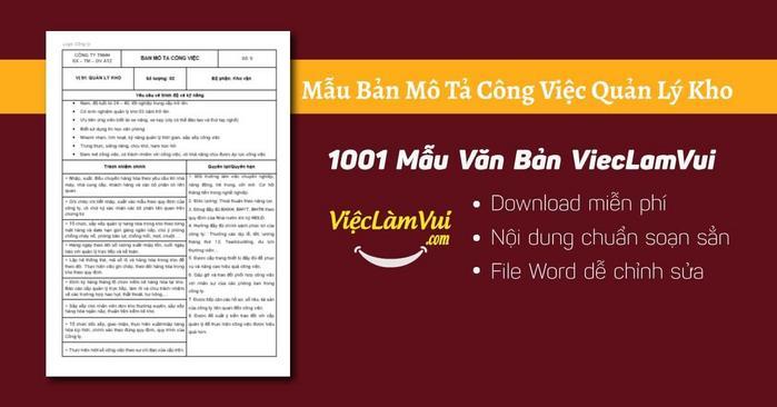 Mô tả công việc quản lý kho - 1001 Bản mô tả công việc ViecLamVui
