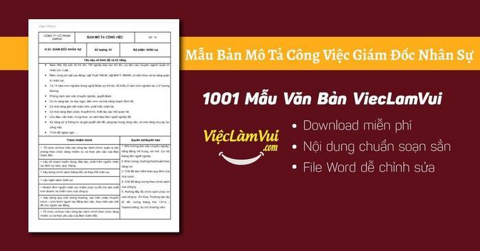 Mô tả công việc giám đốc nhân sự - 1001 Bản mô tả công việc ViecLamVui