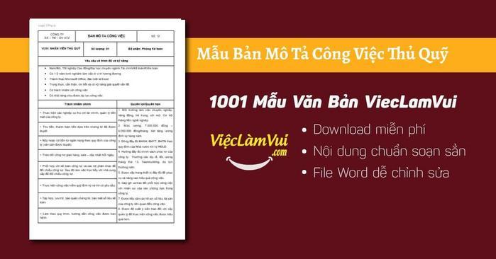 Mô tả công việc thủ quỹ - 1001 Bản mô tả công việc ViecLamVui