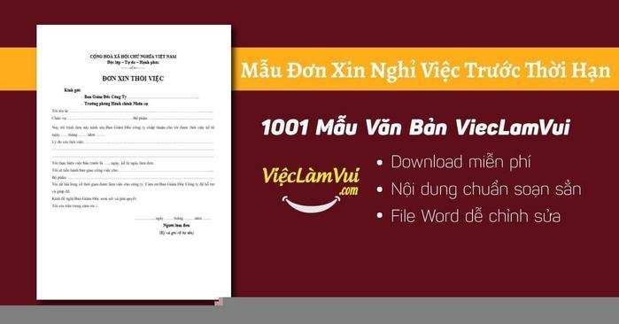 Đơn xin nghỉ việc trước thời hạn - 1001 Mẫu văn bản ViecLamVui