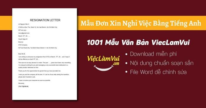 Mẫu đơn xin nghỉ việc bằng tiếng Anh - 1001 mẫu văn bản ViecLamVui