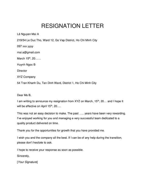 Mẫu đơn xin nghỉ việc bằng tiếng Anh - ViecLamVui